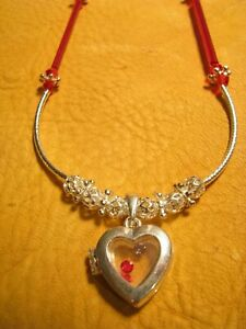 NICE SILVER N RED TONE HEART LOCKET WITH STONES INSIDE N IRIDESCENT BEADS N MORE