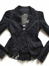 RIVER ISLAND BLACK BEADED EMBELLISHED JACKET VICTORIAN EDWARDIAN STEAMPUNK