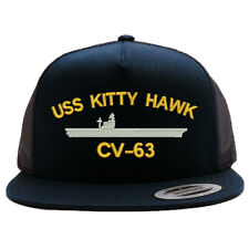 USS KITTY HAWK CV-63 BATTLESHIP MESH TRUCKER SNAP CLOSURE CAP HAT