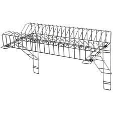 More details for stainless steel commercial plate rack & 2 wall brackets 90cm 36