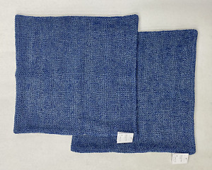 """NEW Pottery Barn Faye Linen Textured 20 x 20"""" Pillow Covers~SET OF 2~Stormy Blue"""
