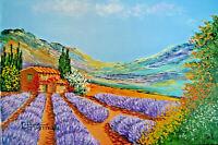 Huile toile paysage provence cote d'Azur été Signé Chrismau tableau riviera noel