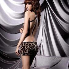 Mini Dress Women Teddies Underwear Lingerie Backless Sleepwear Leopard