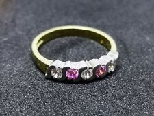 Lovely 9ct gold cubic zirconia & pink diamante ring size O 1/2 hallmarked