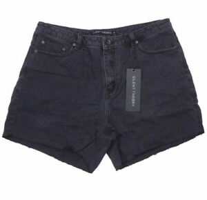SILENT THEORY Women's Crushed Short, Colour Washed Black, Size 14