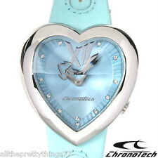 Brand New Pyramid  HEART Face Quartz WATCH by CHRONOTECH Blue LEATHER Band