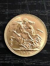 1913 'P' Full Sovereign St George Reverse George V Gold coin HIGH GRADE