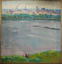 Russian Ukrainian Soviet Oil Painting Cityscape works palette knife river Kiev