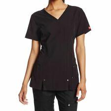 Dickies Women's Xtreme Stretch V-Neck Scrubs Shirt Black Size 5XL 82851