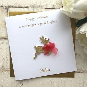 Personalised Handmade Christmas Card, Reindeer, Mum, Dad, Sister, Brother, Nan