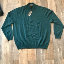 J. Hilburn Men's Green XL 1/4 Zip Pullover Sweater Wool Cashmere Blend