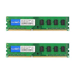Tecmiyo 8GB 2X 4GB PC3-10600U 2RX8 DDR3 1333MHz 240pin Desktop Memory RAM DIMM