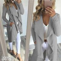 Women Casual Long Sleeve Windbreaker Cardigan Long Jacket Trench Coat Top