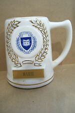"Ceramic Yale University Beer Bar Stein Mug Cup MARIE 5.5"" Tall 4 1/4"" Bottom"