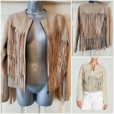 Elie Tahari Fringe Beige Paulina Goat Leather Front Zipper Waist Jacket Size M