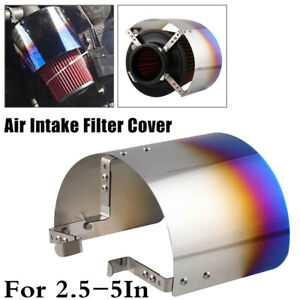 """For Car 2.5-5.5"""" Filter Stainless Steel Blue Air Intake Filter Heat Shield Cover"""