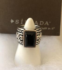 Silpada R1096 Sterling Silver Black Onyx Filagree Scroll Band Ring SZ 7.25-7.50