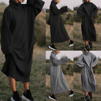 Plus S-5XL Women High Neck Casual Long Maxi Dress Oversize Long Shirt Dress Tops