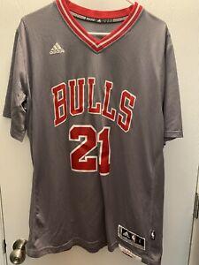 NBA Chicago Bulls Adidas Jimmy Butler Gray Short Sleeve Jersey Size L