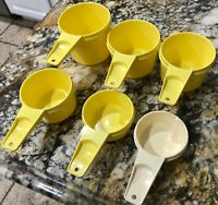 Tupperware Vintage  Yellow measuring cups Set 761-5 762-5 763-5 764-5 765-5 766