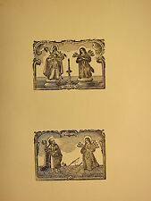 ANTIQUE WOODCUT PRINT ~ RELIGIOUS GOTHIC SAINTS PALMA BISHOP