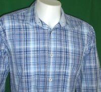 Bugatchi Uomo Shirt Mens XL Shaped Fit Blue Checks Contrast Flip Cuff Collar