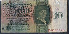 Scarse BANCONOTA GERMANIA 10 P175 1924 AVF-tre fori di tipo Pin