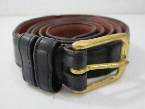 Mens Coach Black Leather Belt Size 34 Brass Buckle