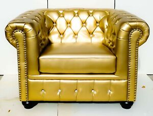 Brand New Chesterfield Tub / Armchair Gold with Crystal Diamanté Bycast Leather!