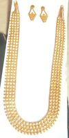 22K Gold Plated 11'' Long Indian Wedding Necklace Earrings 3 Steps Bridal Set a