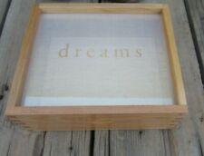 """""""DREAMS"""" Wood Box Jewelry Keepsake Organizer Case Glass Top Display Storage New!"""