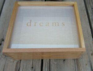"""DREAMS"" Wood Box Jewelry Keepsake Case Glass Top Display Everyday Artifact NM"