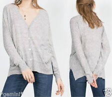 ZARA GREY KNIT JACKET CARDIGAN WITH POCKETS SIZE M 38 40 Strickjacke JACKE GRAU