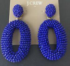 NWT J Crew Beaded oval dangle statement earrings In Cobalt
