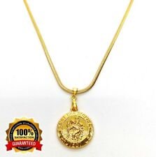 18k Yellow Gold Saint Christopher Pendant & Snake Chain Necklace Set