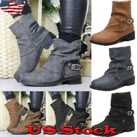 Women Ankle Boots Martin Zipper PU Ponited Toe Block Heel Casual Slouch Shoes US