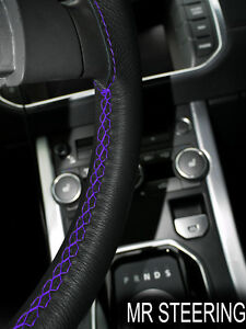 FOR FORD ESCORT I 1968-74 TRUE LEATHER STEERING WHEEL COVER PURPLE DOUBLE STITCH