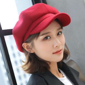 Ladies Womens Wool Beret Korean Baker Boy Peaked Cap Newsboy Hat Travel Cadet