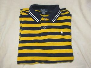 Ralph Lauren Boy Yellow Navy Blue Stripe Mesh Polo Shirt Pony Logo 12/14