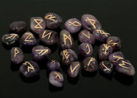 Amethyst Stone Rune Set Symbols Gemstone Healing Crystal Runes 25 Pieces 10 Mm