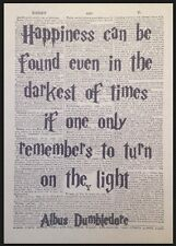 Dumbledore Quote Harry Potter Vintage Dictionary Print Picture Art Happiness