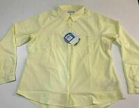 NWT columbia omni wick pfg Button Down Shirt Womens L %100 Polyester yellow