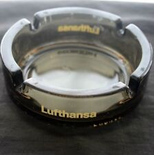 Vintage LUFTHANSA Airline Glass Advertising Ashtray