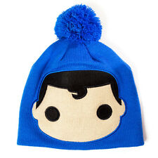 OFFICIAL DC COMICS POP CARTOON SUPERMAN BIG FACE BLUE BEANIE HAT (BRAND NEW)