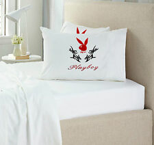 NEW QUEEN SIZE PLAYBOY WHITE RED & BLACK 100% COTTON 3PCS FITTED SHEET SET