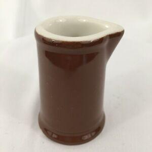 "HALL China Brown Restaurant Ware 3 3/8"" CREAMER Milk Cream Individual Jug USA"