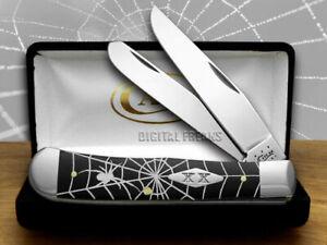 Case xx Trapper Knife Spider Web Black Delrin 1/500 Stainless Pocket Knives