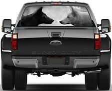 Moon, black & white Wolf Painting  Rear Window Graphic Decal  Truck Van