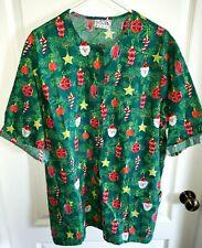 womens Plus size Ua Scrubs Top Uniform 1/2X green Snap Front Santa Ornaments