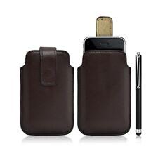 Housse coque étui pochette marron pour Apple Iphone 3G/3GS + Stylet